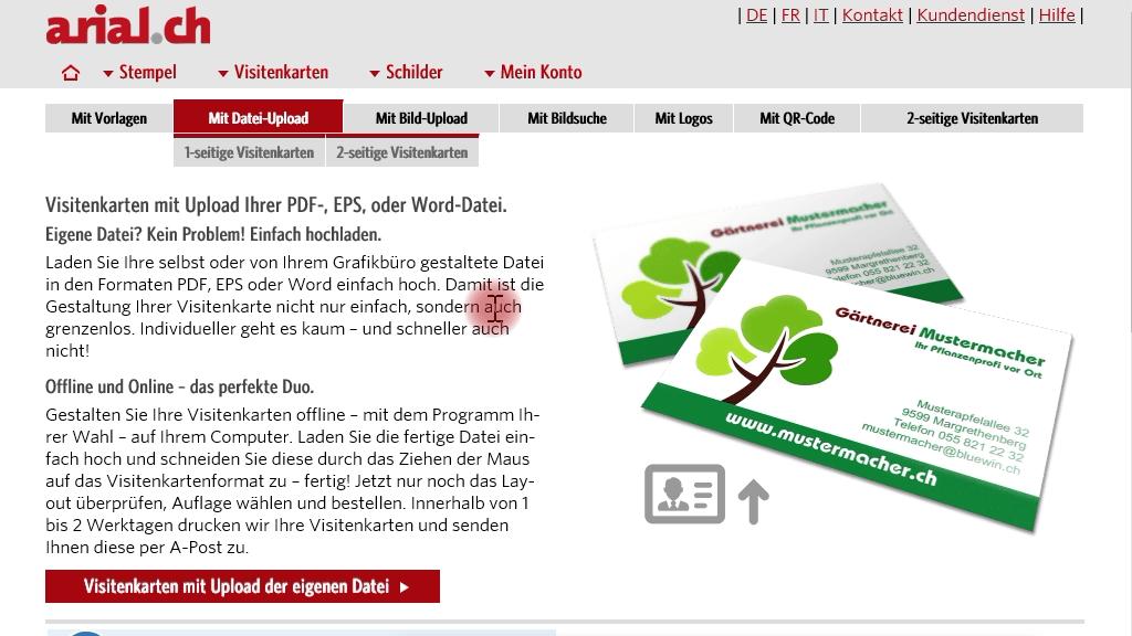 Visitenkarten mit unseren Vorlagen für Beruf & Privat.